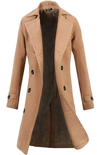 Lende Men's Trench Coat Winter Long Jacket Double Breasted Overcoat,Khaki,Large