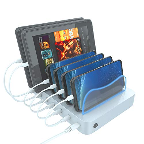 Hercules Tuff USB Charging Station Organizer for Multiple Devices - 6 Cables Included Compatible with Samsung, Kindle, Apple iPhone, Ipad, Android (Silver Dock)