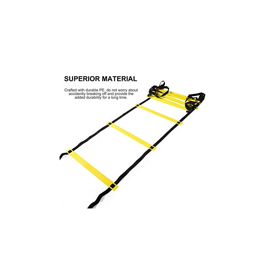 RUNACC Agility Ladders 19.7ft/12 Rungs Durable Sports Exercise Speed Training Ladders for Soccer, Football Adjustable Exercise Tool with Bonus Carry Bag