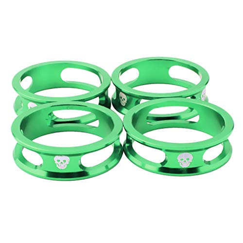 Baosity 4Pcs Aluminium Alloy Bicycle Stem Headset Spacers Fit 1 1/8-Inch Stem Compatible with MTB Mountain Bike Road Bikes Fixed Gear 10mm Cycling Parts - Green, 28.6x10mm