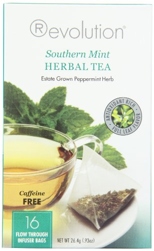 Revolution Tea Southern Mint Herbal Tea, Caffeine Free, 16-Count Teabags (Pack of (Revolution Mint)