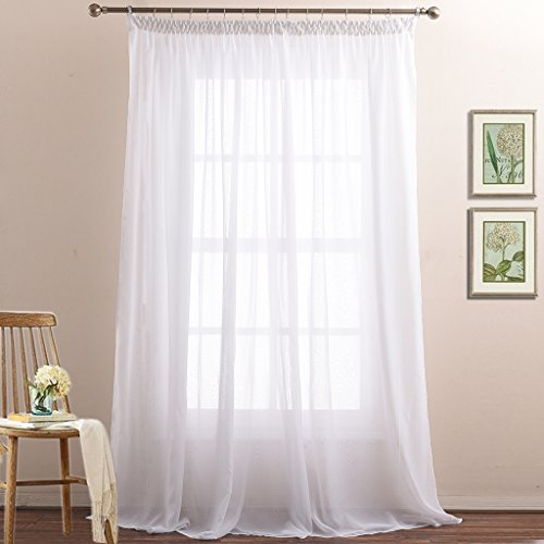 NICETOWN 2-Layer Sheer Curtain Panels for Bedroom Pinch Pleat Elegant Double Layers Voile Draperies for Living Room(Drape Tiebacks, Hooks and Rings Included,110