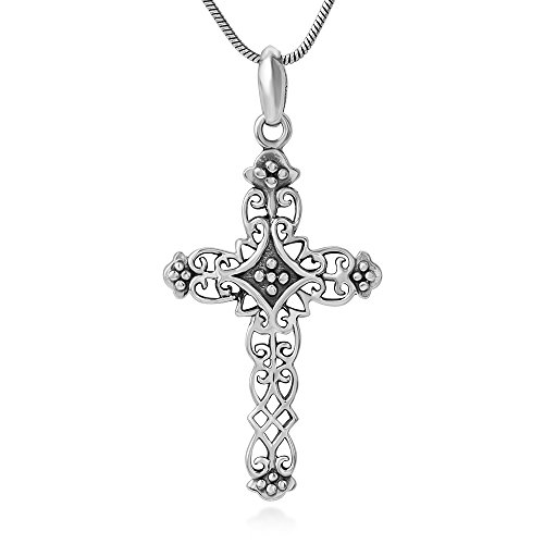 Antique Vintage Cross (925 Sterling Silver Detailed Filigree Antique Vintage Cross Pendant Necklace, 18