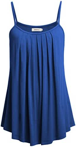 Bepei Women Loose Casual Summer Pleated Flowy Sleeveless Camisole Tank Tops