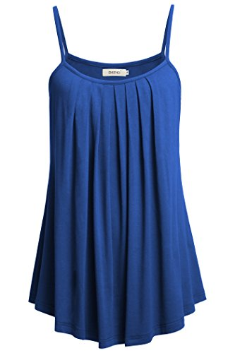 BEPEI Women Loose Casual Summer Pleated Flowy Sleeveless Camisole Tank Tops,Royal ()