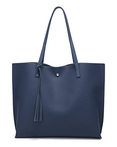 Women's Soft Faux Leather Tote Shoulder Bag from Dreubea, Big Capacity Tassel Handbag Dark Blue