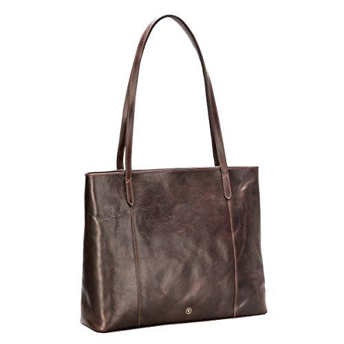 Maxwell-Scott Luxury Handcrafted Italian Full Grain Leather Dark Brown Shopper Bag / Purse for Discerning Ladies (The Athenea) Heart Italian Bag