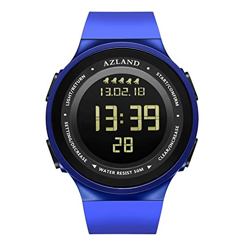 AZLAND Multiple Alarms Waterproof Kids Watches Boys Girls Digital Sports Teenagers Wristwatch (5 Alarms, for Age 10+, Blue)