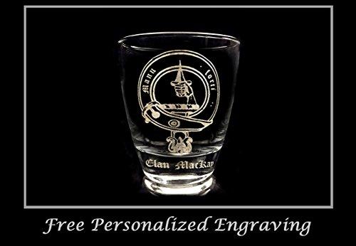 (Clan MacKay Scottish Crest Clear Lowball Rocks Glass 10oz - Free Personalized Engraving, Celtic Decor, Scottish Glass)