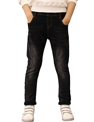 BYCR Boys' Blue Denim Jean Elastic Waist Pants for Kids Size 4-18 No. 71500092 (150 ( US Size 10 ), black)