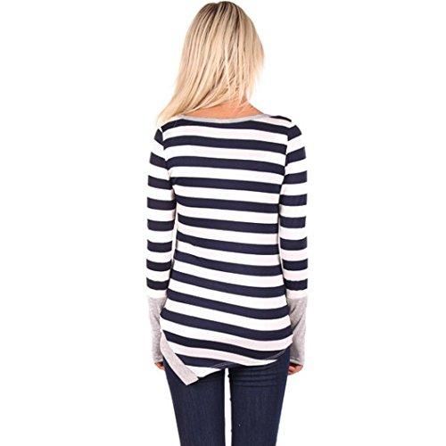 zolimx Las mujeres de moda costura remata la camisa de manga larga blusa de rayas Gris