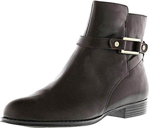 s Tinker Leather Ankle Boots W/ Buckle Detail Dark Brown (5, medium) (Buckle Detail Ankle Boots)