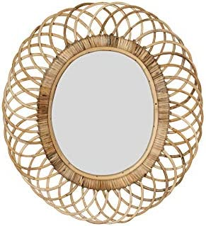Creative Co-op Oval Woven Bamboo Wall Mirror, Brown