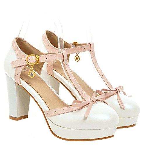 AIYOUMEI Damen T-Spangen Pumps mit Schleife Blockabsatz High Heel Plateau Süß Schuhe Weiß