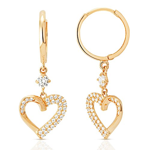 (Classy Genuine 14k Solid Gold Dangling Earrings with CZ Heart Design Perfect gift for Her)