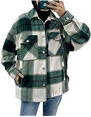 Womens Casual Wool Coats Plaid Lapel Button Short Pocketed Shacket Shirts