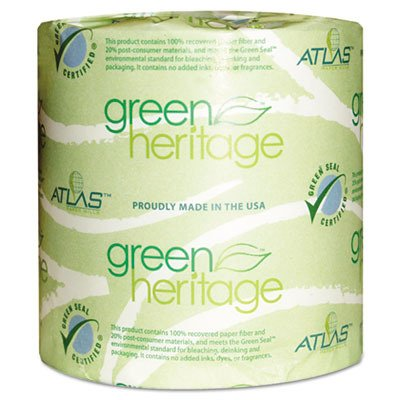 (Atlas Paper Mills 280GREEN Green Heritage Toilet Tissue, 4 1/2 x 4 1/2 Sheets, 2-Ply, 500 Sheets per Roll (Case of 80 Rolls))
