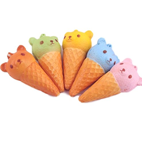 8X4.5CM Fragrant Simulate Cute Bear Ice Cream Squishy Toy Stress reliever Phone Chain (Cute Homemade Ladybug Costumes)