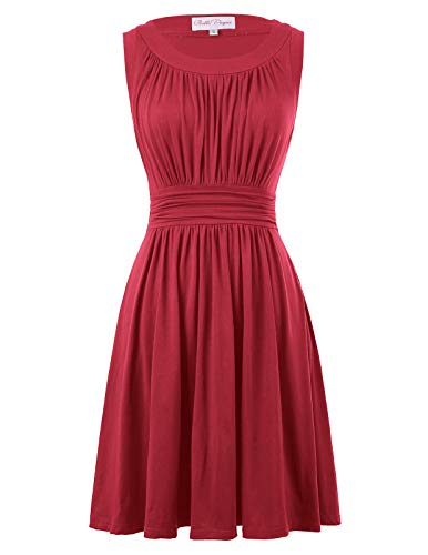 Sexy Sleeveless Summer Dress for Women Knee Length Size XL Red BP289-5