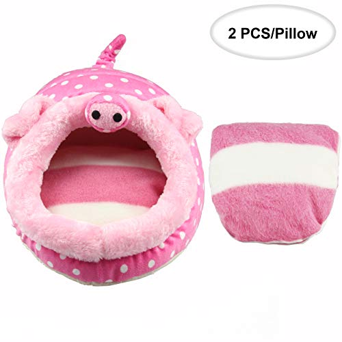 ABLAZEZAI Hedgehog Chinchilla Guinea Pig Bed Cage Toys Hamster Supplies Rat Habitat Bearded Dragon House Small Animal Nest(L,Pink Pig)