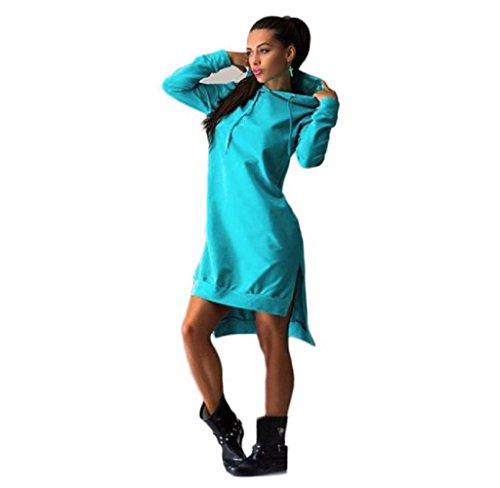 JUNKE Women Sweatshirt Dress Double Split Hoodie Pullover Pockets Sweater (XL, Blue)