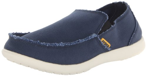 Crocs Men's Santa Cruz Loafer, Casual Comfort Slip On, Lightweight Beach or Travel Shoe, Navy/Stucco, 10 US Men
