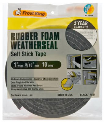 "Rubber Foam Weatherseal Self Stick Tape Weather Strip Tape 1"" x 5/16"" x 10'"