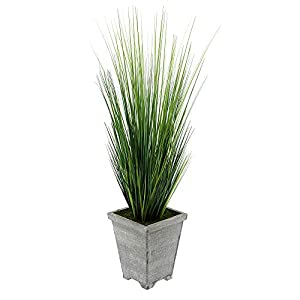 House of Silk Flowers Artificial 4ft PVC Grass in Washed Wood Planter 2