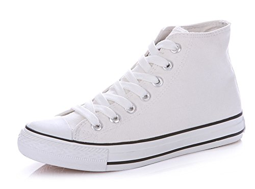 Sfnld Hommes Femmes Printemps Automne Classique Haut Haut Toile Chaussures Sneaker White1