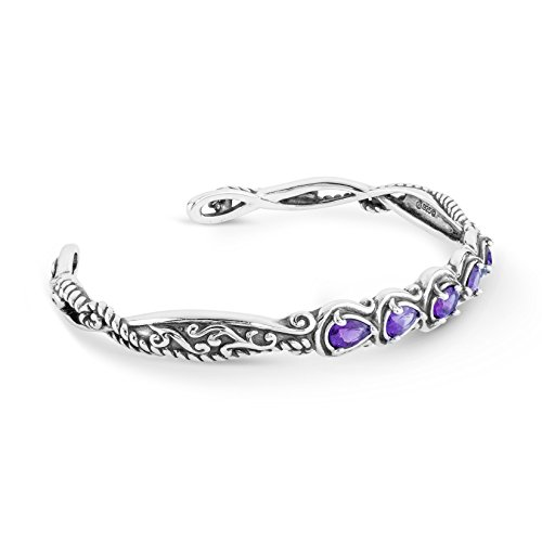 Carolyn Pollack Sterling Silver Purple Amethyst Gemstone Five Stone Cuff Bracelet Size Medium
