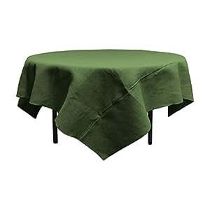 "LA Linen 72"" by 72"" Square Jute Burlap Tablecloth / Pack of 1 / Hunter Green."