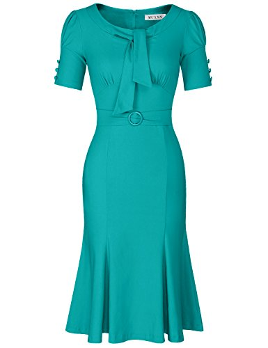 Sleeve Tie Waist Dress - MUXXN Womens 1950s Elegant Business Work Dress Short Sleeve Mermaid Dress (Light Sea Green S)