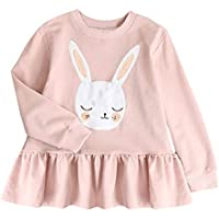 1-5T Toddler Kids Baby Girls Sweatshirt Pleated Dresses Long Sleeve Cute Rabbit Tops Princess Dress Winter Clothes