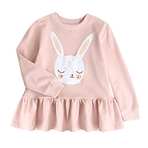 1-5T Toddler Kids Baby Girls Sweatshirt Pleated Dresses Long Sleeve Cute Rabbit Tops Princess Dress Winter Clothes (Pink, 5T(4-5 Years)) from Aritone