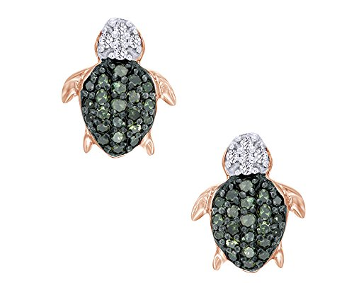 Round Cut Green & White Natural Diamond Turtle Stud Earrings In 14K Rose Gold Over Sterling Silver (1/6 Cttw) - 14k White Gold Turtle
