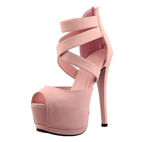 HooH Women's Sexy Peep Toe Strap Hollow Out Platform Stiletto Sandals Pink pDc0V