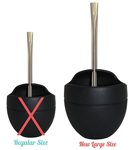 New Yerba Mate (Extra Large Yerba Mate Silicone Gourd and Bombilla Combo (14 Oz. Gourd) (Black on Black) by Yerba Supply)