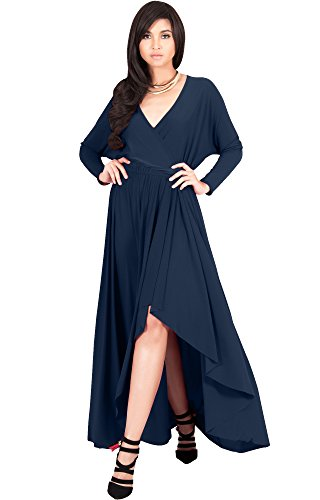 KOH KOH Plus Size Women Long Sleeve Sleeves Wrap Slit Split Formal Fall Winter Cocktail Sexy Flowy Evening Day Abaya Gown Gowns Maxi Dress Dresses, Navy Blue XL 14-16 (2)