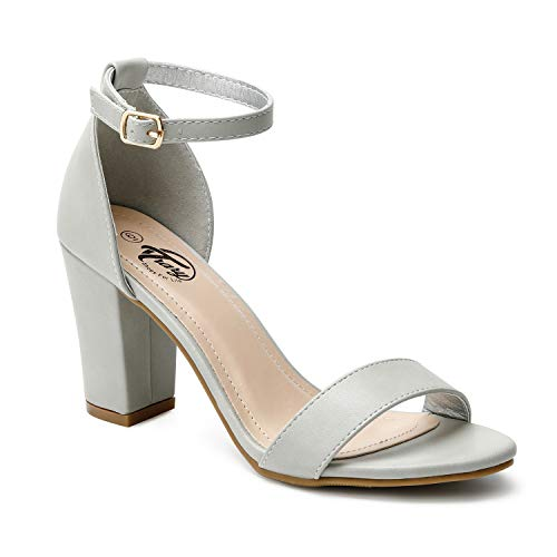 Trary Women's Ankle Strap and Adjustable Buckle Chunky Pump Heel Sandals Pu Light Gray 07