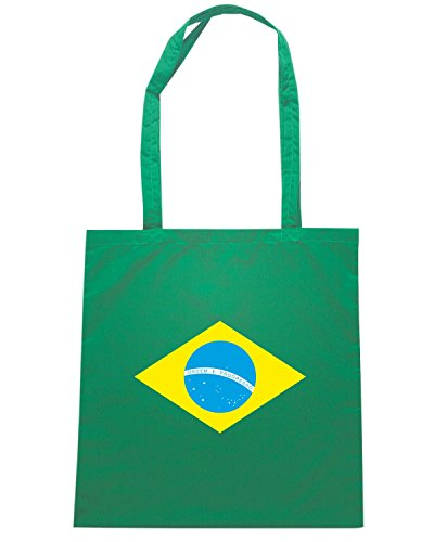 T-Shirtshock - Bolsa para la compra TM0169 Brazil flag Verde