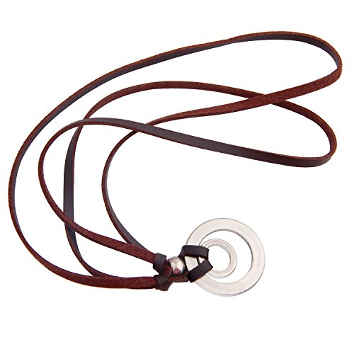 BNQL Eyeglass Holder Necklace O Ring Adjustable Leather Strap Necklace (B) by BNQL