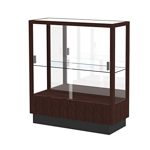 Waddell Heritage Mirror Back Countertop Display Case, 36W by 40H by 14''D, Espresso Finish by Waddell