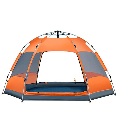 - DR - Automatic Tent Double Hex Outdoor 3-5 People Breathable Rain Family Camping Tent 240x240x135cm Compact Event Tent (Color : Orange)