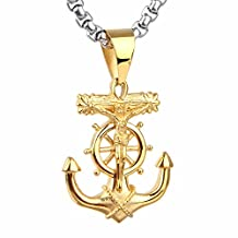 COPAUL Men's Stainless Steel Navy Anchor Jesus Pendant Necklace Silver/Gold
