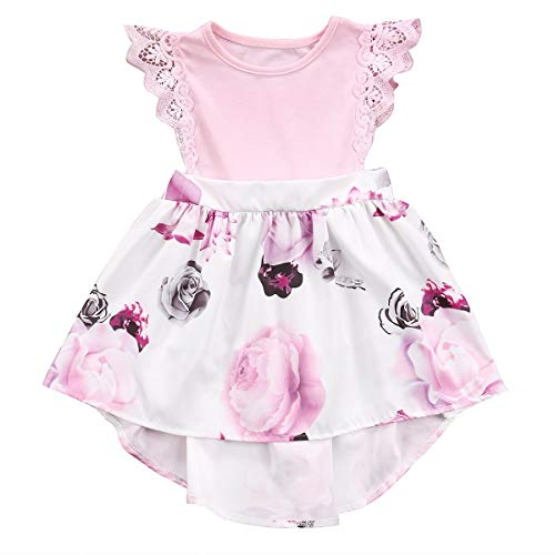 Big Sister Little Sister Floral Matching Clothing Lace Ruffle Sleeve Romper&Dress Outfit Family Clothing (2-3 Years, Dress(Big Sister)) ()