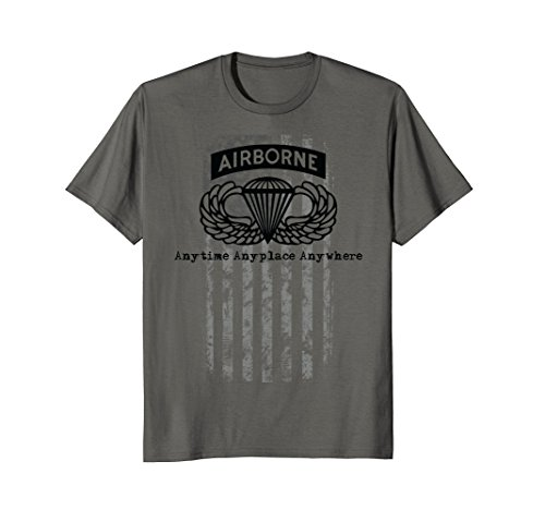 Black Airborne Wing - Airborne Paratrooper T-shirt Black Jump Wings Airborne Tab