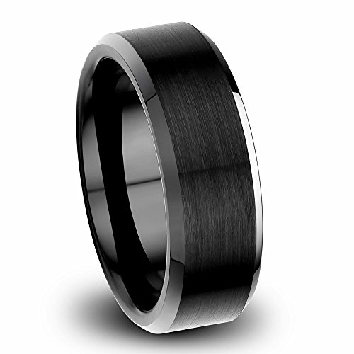 VXGold 8mm Tungsten Ring Beveled for Mens Wedding Band Black Matte Surface Perfect Quality (10.5)