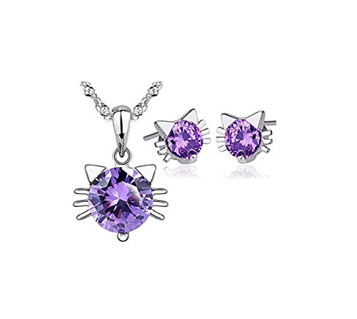 (Most Beloved 925 Sterling Silver Purple Cat Pendant Necklace Stud Earring Cubic Zirconia Jewelry Sets)