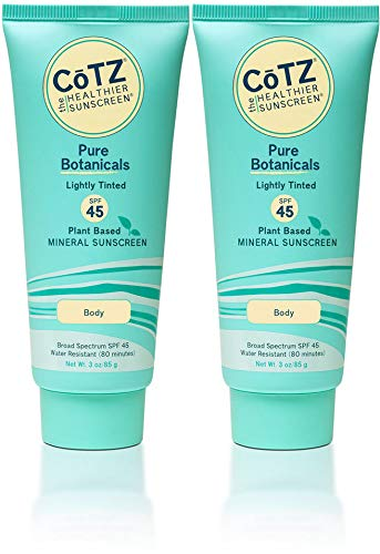 (CoTZ Pure Botanicals Lightly Tinted SPF 45 Mineral Sunscreen (Pack of 2), For Body, Plant Based, With Titanium Dioxide, Zinc Oxide, Shea Butter, Green Tea and Jojoba, Reef Safe, Water)