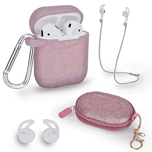 Airpods Accessories Set, Filoto Airpods Waterproof Silicone Case Cover with Keychain/Strap/Earhooks/Accessories Storage Travel Box for Apple Airpod (Rose Gold)